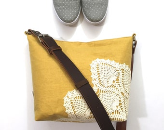 Mustard Linen Cross Body Bag with Vintage Doily