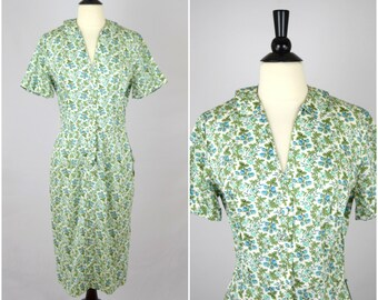 Vintage McMullen blue rasberry dress / floral day dress / deadstock