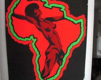 """NOS  Mature Black Light Vintage """"Afro Dancer"""" Poster"""