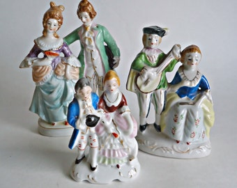 3 Occupied Japan Figuines Victorian Couples Courting Instant Collection Figurine