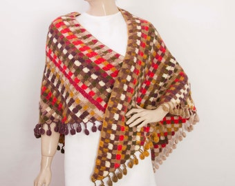 crochet blanket shawl scarf crocheted capelet wrap ,blanket scarf