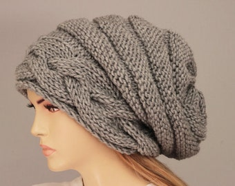 Slouchy beanie  oversized beanie hat winter knit hat for woman in black  -COLOR OPTION  AVAILABLE