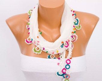 Turkish oya scarf , lace scarf ,summer scarf ,necklace scarf ,ivory