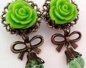 ON SALE 9/16 inch 14mm Spring Green Dangly Rose Plugs for Stretched ears - EGL Sweet Street Fashion Unique