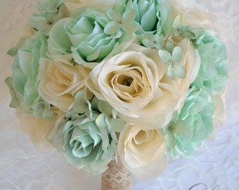 "Wedding Bridal Bouquets 17 Piece Package Bouquet Silk Flowers Maid Bridesmaid MINT IVORY Green RUSTIC Burlap Lace ""Lily of Angeles"" TIIV02"