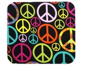 Mouse Pad - Fabric mousepad - Rainbow peace signs - Home office / computer
