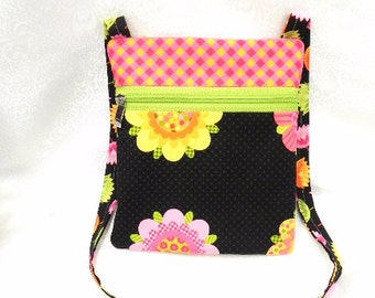 Hipster Bag - Travel Purse - Flower and Polka dots Fabrics