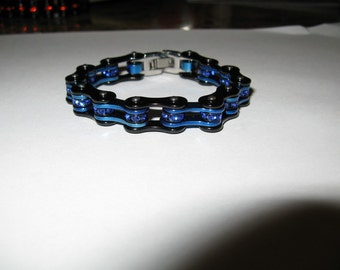 Thin Blue Line Blue crystal Bracelet made in USA