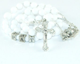 Personalized First Communion Rosary, White Glass and Silver, First Holy Communion Center Medal