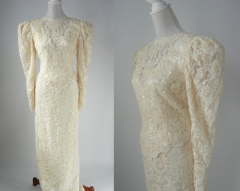 Vintage 1980s Ivory Cream Beaded and Lace Wedding Gown