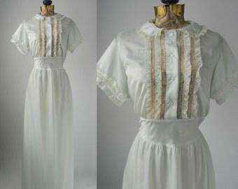 Vintage Creamy Light Blue 1950s Nightgown