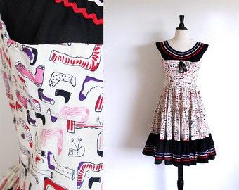 Vintage 50s Full Skirt Dress, Tiered Skirt Rockabilly Dance Cotton Print Rick Rack Frock