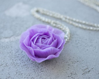 Purple Rose Pendant Handmade Flower Floral Women Medallion Jewelry Accessory Birthday Wedding Christmas Xmas Bridal Gifts Accessory