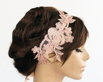 Bridal Headband Pastel Pink Beaded Venetian Applique Lace Weddings Hair Fascinator Handmade