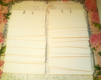 """Vintage Rolodex Cards White - 2 1/4"""" x 4"""" Cards- Scrapbooking Journals Planners Paper Ephemera Address Cards Note Cards Mixed Media"""