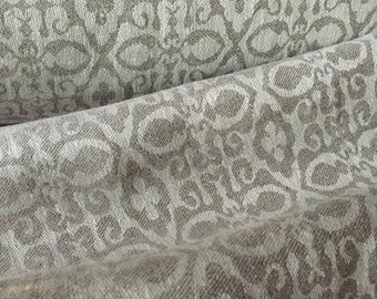 "56"" x 56"" - One Piece -Laundered Natural Linen Jacquard Fabric - Gorgeous Soft Hand -  Color:  Royce Oatmeal"