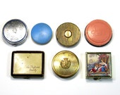 Vintage Perfume Compacts: Miniature Cosmetic Compacts, 7 Little Vintage Compacts, Hudnut, Marly, Luxor, Evening in Paris, Coty, Woodbury