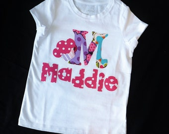 Girl, toddler, baby personalized birthday number / initial and name applique SHIRT, retro hot pink, purple, green, cupcake sizes NB - 16