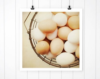 Egg print, eggs in basket print, country living photography, kitchen art, nature print, farmhouse kitchen rustic, spring art farmhouse chic