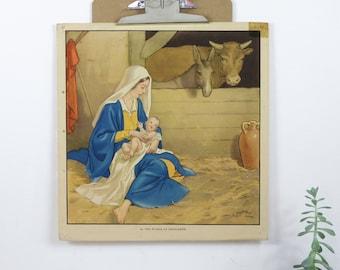 Vintage Infant School Illustration, The Stable at Bethlehem