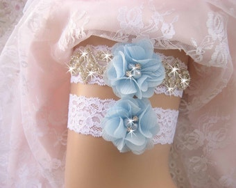 Something Blue Wedding Garter Vintage Bridal Garter Set, Wedding Garter Set, Bridal Garter Set, Lace Garter Set, Toss Garter included