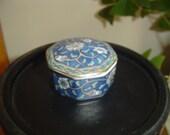 Takahashi Covered Trinket Dish, 8 Sided China Trinket Dish, Etude Covered China Dish, San Francisco, Hand Decorated Covered Trinket Dish,,