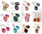Swarovski Crystal Bridal Earrings Wedding Earrings Bride Teardrop Earring Bridesmaid Gift Wedding Jewelry Choose Your Color Crystal Earrings