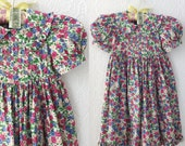 Vintage Girls Dress, Pink and Blue Floral, Cotton Calico Easter Dress, Ruffled with Puff Sleeves, by Mousefeathers, size 4T or 5, 1990's