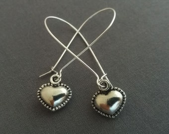Heart Earrings. Silver Heart Charms. Love Jewelry. Dangly Dangle Earrings. Whimsical Earrings. Christmas Gift