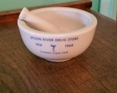 150 Year Anniversary Mortar and Pestle, 1818 - 1968, Illinois State Fair, Spoon River Drug Store