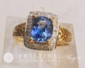 Ceylon Blue Sapphire Art Deco Ring in 14k Gold Diamond Halo