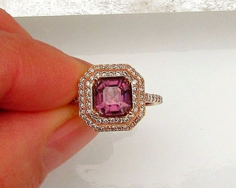 Asscher Cut Purple Spinel Gemstone Engagement Ring in 14k Rose Gold Diamond Halo Weddings Anniversary