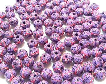 20 Fimo Polymer Clay Round Beads white purple flower beads 12mm