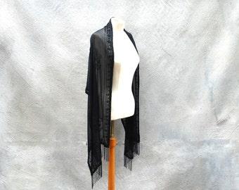 Vintage sheer black art deco shawl - black beaded fringed evening wrap - one size