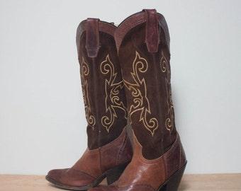 40% Off Sale 7 M | Tall Sonora Brown Wingtip High Heel Cowboy Boots