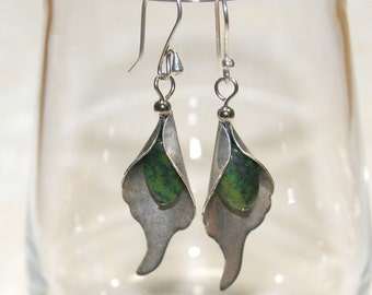 Silver Calla Lily Earrings with green Jasper