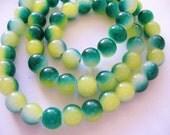 Glass Beads Green/Yellow Round 8MM