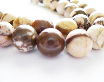 Australian Agate Stiped Gemstone Brown and Tan Round 10MM
