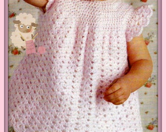 Instant Download - PDF Crochet Pattern for a Babies/Toddlers Pretty Cap Sleeved Dress with Scalloped Edged hemline