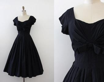 vintage 1950s dress // 50s black cotton dress