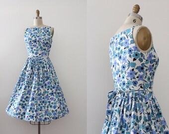 vintage 1950s dress // 50s blue floral day dress