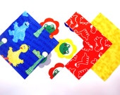 """48 Cotton Flannel 6""""x6"""" Quilt Square Rag Quilt Kit in Sesame Street, Fun Frogs, Dinosaurs and Tie Dye Prints"""