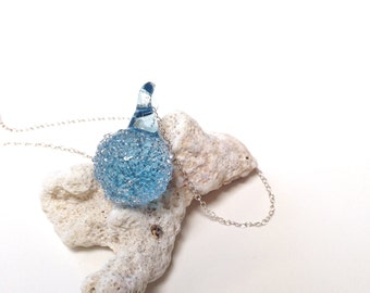 Seaglass Jewelry, Necklace Pendant, Crystal Pendant, Beach Glass Necklace, Aqua Blue Large