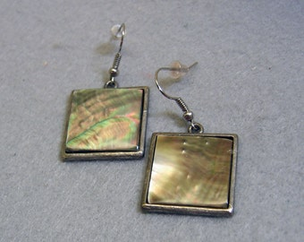 Vintage Gray Mother of Pearl Square Pierced Earrings