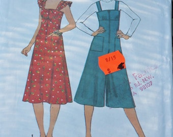Pattern Dress Ruffles Shoulders Jumper Culottes Pant Dress 1970s Simplicity 8024 Simple to Sew