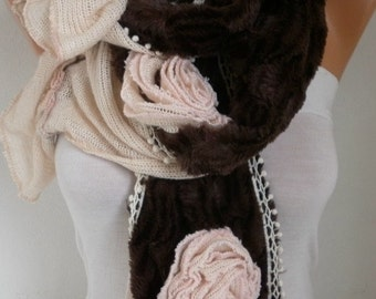 Salmon & Brown Plush Scarf,Winter Scarf, Faux Fur Scarf Shawl Scarf Flower Scarf  Cowl Scarf  Gft Ideas For Her Women's Fashion Accessories