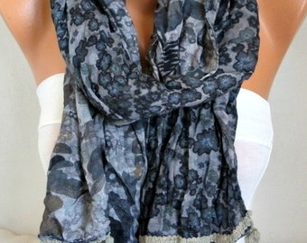 Gray Floral Soft Scarf,Fall Shawl, Cowl Beach Wrap Gift Ideas For Her Women Fashion Accessories Women Scarves, Birthday Gift