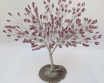 Plum Tree of Life, Purple and Silver Seed Bead Tree Centerpiece, Purple Tree Wedding Cake Topper, Plum Bonsai Tree Decor