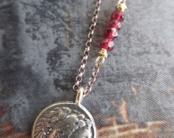 Dainty Roman coin charm necklace - Roam - red garnet sterling silver gold fill everyday lightweight yoga boho by slashKnots