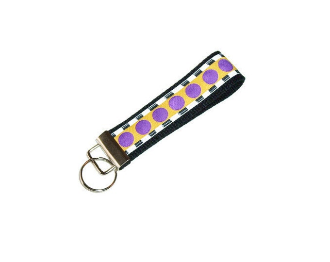 Key Fob - School Colors - Purple and Gold - Teacher Gift - Stocking Stuffer - Gift Under 10
